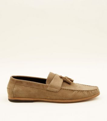... Stone Faux Suede Stitched Tassel Loafers