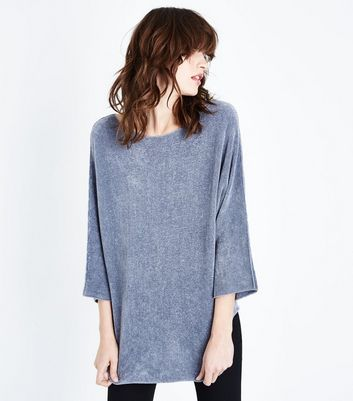Lulua London Dark Grey Chenille Batwing Jumper