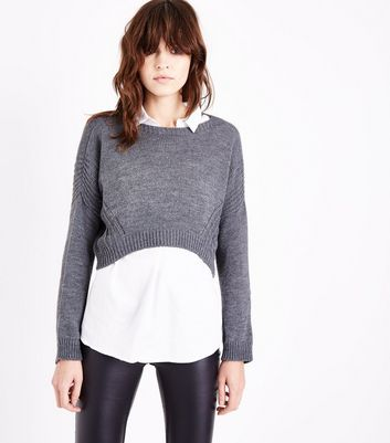Lulua London Dark Grey Stitch Detail Cropped Jumper