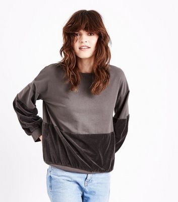 Lulua London Brown Velvet Panel Sweatshirt