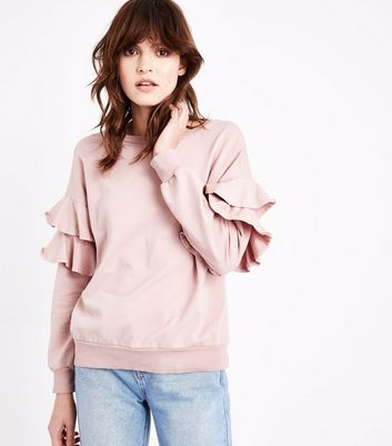 Lulua London Shell Pink Frill Sleeve Sweatshirt