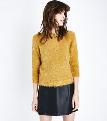 Lulua London Yellow Fluffy Scoop Neck Jumper