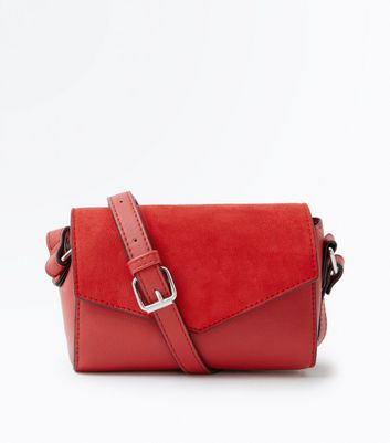 Red Suedette Panel Envelope Cross Body Bag