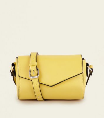 Yellow Leather-Look Envelope Cross Body Bag