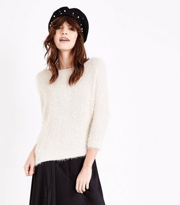 Lulua London Cream Pearl Fluffy Jumper