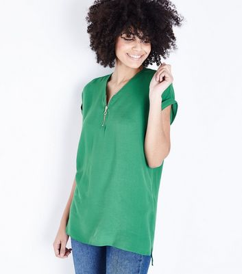 Tall Green Zip Front T-Shirt