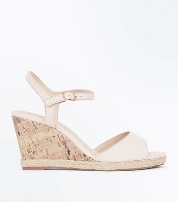 Wide Fit Nude Suedette Peep Toe Wedges