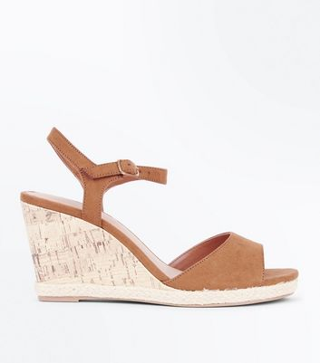 Wide Fit Tan Suedette Peep Toe Wedges