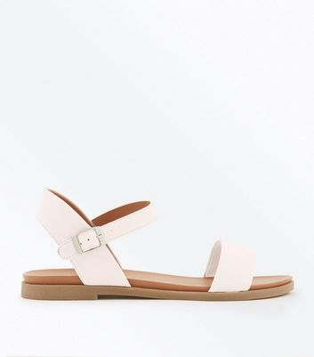 Wide Fit Nude Suedette Flat Sandals