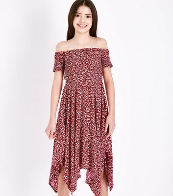 Teens Red Floral Shirred Hanky Hem Dress