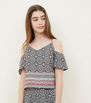 Teens Black Border Print Cold Shoulder Top