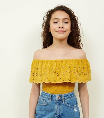 Teens Mustard Floral Cut-Out Shirred Bardot Top