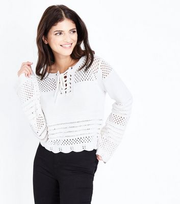 Cream Eyelet Lace Up Pointelle Jumper