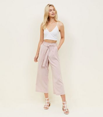 Tall Pale Pink Tie Waist Culottes