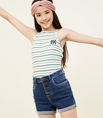 Girls Navy 4 Button High Waist Denim Shorts