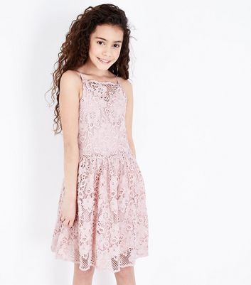 Teens Pale Pink Crochet Lace Skater Dress