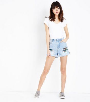 Blue Ripped Patchwork Panel Denim Shorts
