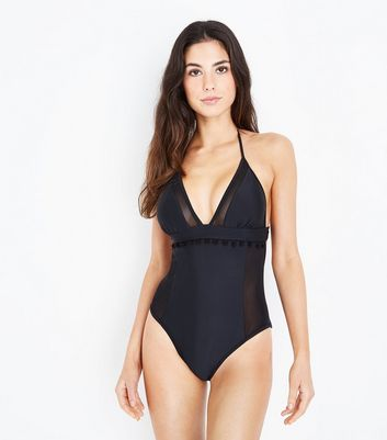 Black Pom Pom Mesh Panel Swimsuit