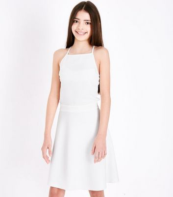 Teens White Cut Out Side Skater Dress