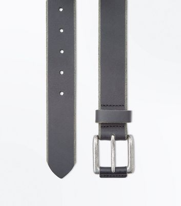 Black Distressed Edge Leather Belt