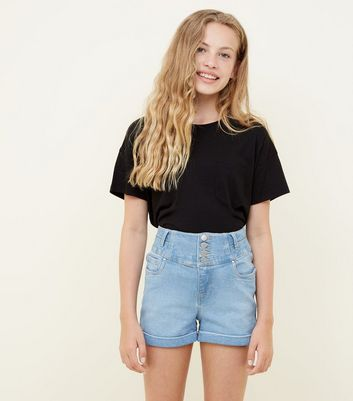 Teens Pale Blue High Rise Button Front Denim Shorts