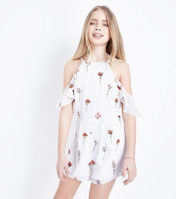 Teens White Floral Embroidered Playsuit