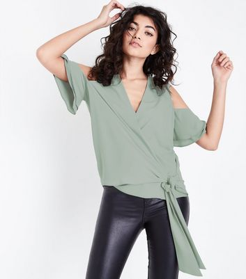 Mint Green Wrap Front Cold Shoulder Top