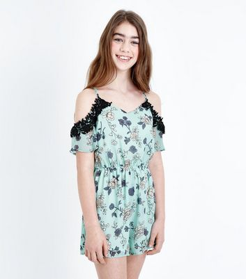 Teens Green Floral Lace Cold Shoulder Playsuit