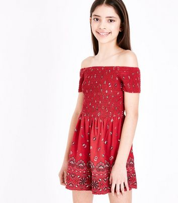 Teens Red Folk Floral Print Bardot Playsuit