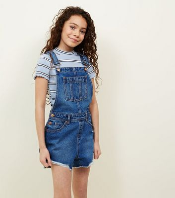 Girls Navy Denim Dungarees
