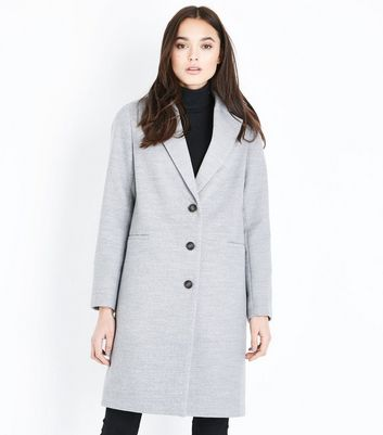 Pale Grey Button Front Coat