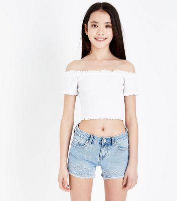 Teens Pale Blue Aztec Embroidered Denim Shorts