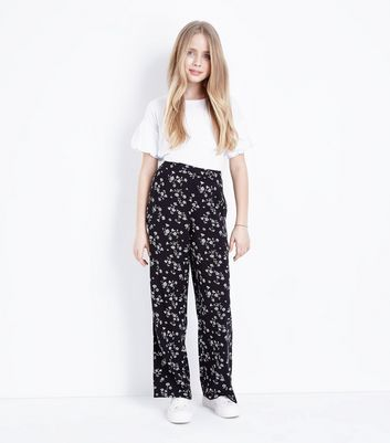 Teens Black Floral Wide Leg Trousers
