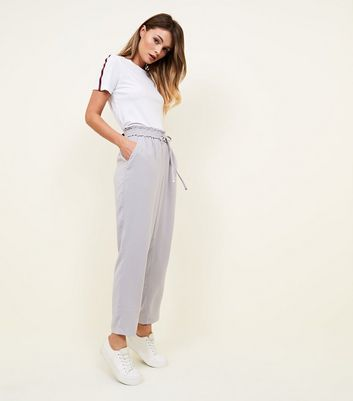 Pale Grey Tie Waist Tapered Joggers by New Look