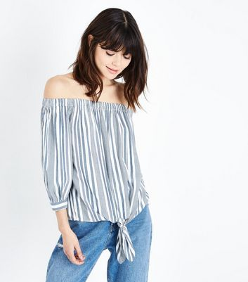 Blue Stripe Tie Front Bardot Top