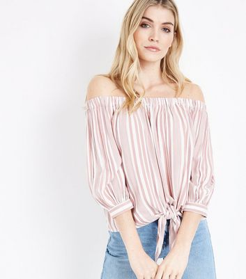 Red Stripe Tie Front Bardot Top