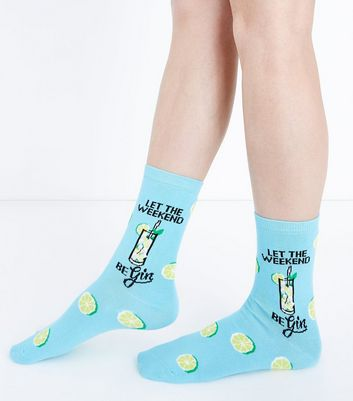 Blue Gin and Tonic Slogan Socks