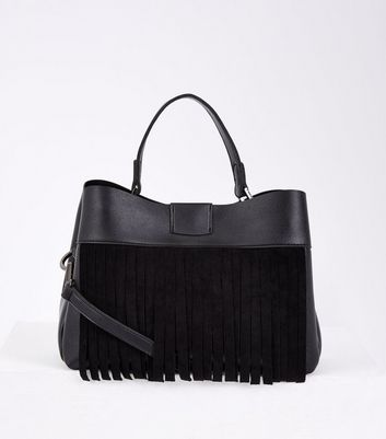Black Fringed Front Top Handle Bag