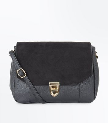Black Foldover Suedette Front Cross Body Bag