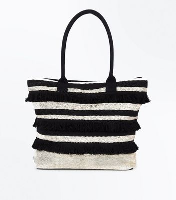 Black Metallic Stripe Fringed Shopper Bag