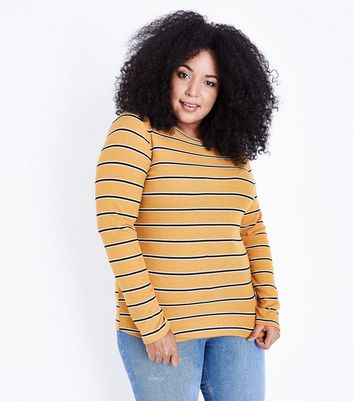 Curves Mustard Yellow Stripe T-Shirt