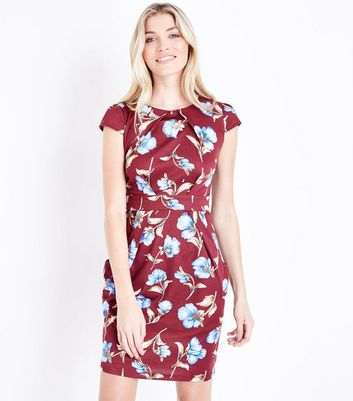Red Floral Cap Sleeve Tulip Dress
