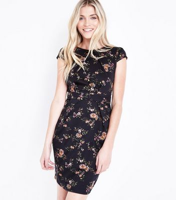 Black Floral Cap Sleeve Tulip Dress