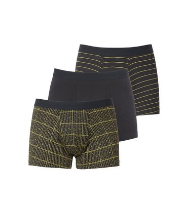 3 Pack Black and Neon Stripe Trunks
