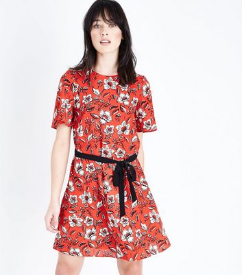 Red Floral Print Tie Waist Tunic Dress