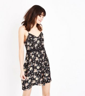 Black Folk Floral Crochet Trim Sundress