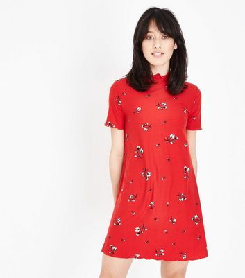 Red Floral Soft Touch Swing Dress