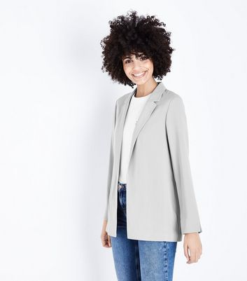 Dark Grey Crepe Blazer by New Look
