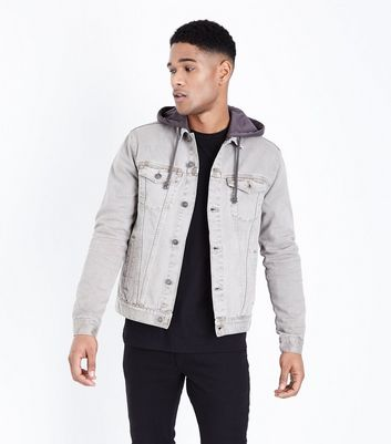 Stone Jersey Hooded Denim Jacket