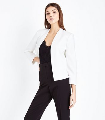 White Cropped Lightweight Blazer